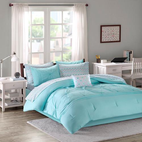 Aqua & White Geometric Design Comforter Set AND Matching Sheet Set (Toren-Aqua)