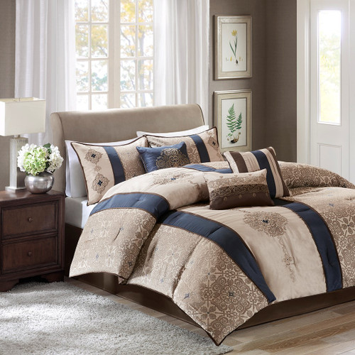 7pc Navy Blue & Taupe Striped Geometric Comforter Set AND Decorative Pillows (Donovan-Navy)