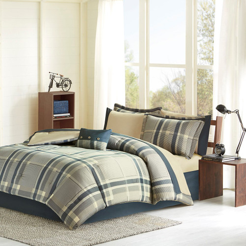 Navy Blue & Taupe Plaid Comforter Set AND Matching Sheet Set (Robbie-Navy Multi)