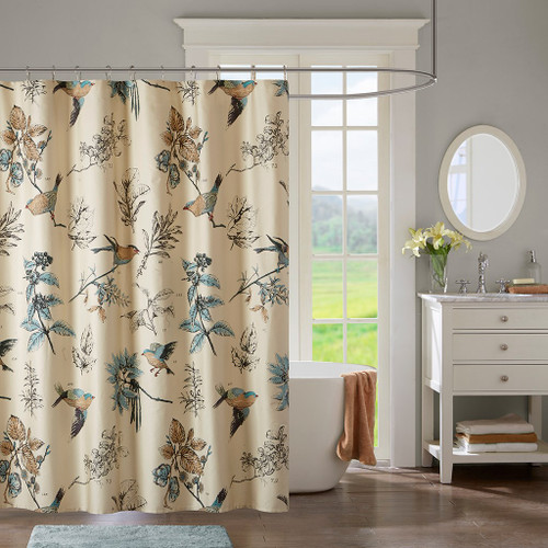 "Blue & Khaki Bird Lovers Cotton Fabric Shower Curtain - 72"" x 72"" (Quincy-Khaki-Shower)"