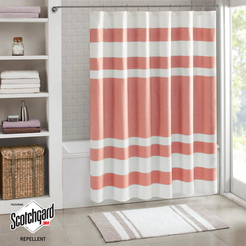 "Coral & White Striped Waffle Weave Fabric Shower Curtain - 72"" x 72"" (Spa Waffle-Coral-Shower)"