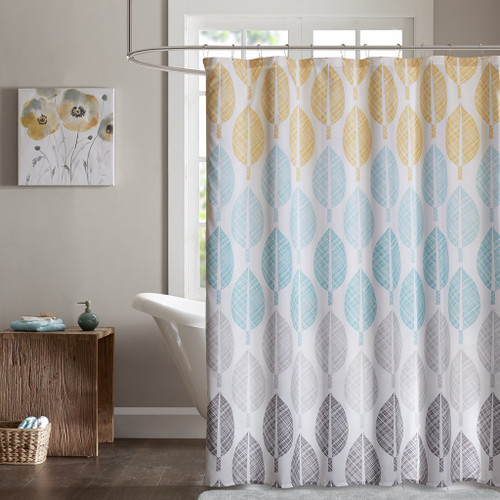 "Yellow Blue Grey & White Leaf Design Fabric Shower Curtain - 72"" x 72"" (Central Park-Yellow/Aqua-Shower)"