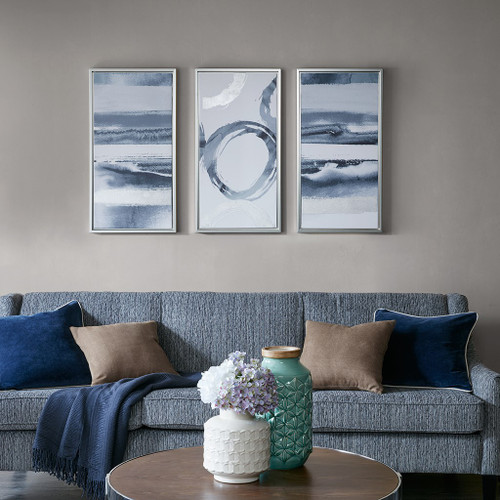 Grey Surrounding Printed Frame Canvas With Gel Coat And Silver Foil 3 Piece Set (Grey Surrounding - Grey-Art)