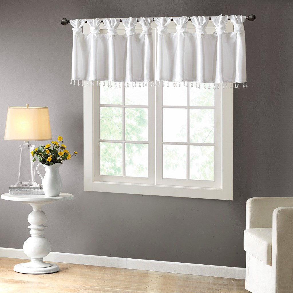 White Faux Silk Diy Twisted Tab Top Window Valance W Hanging Beads Emilia White Val