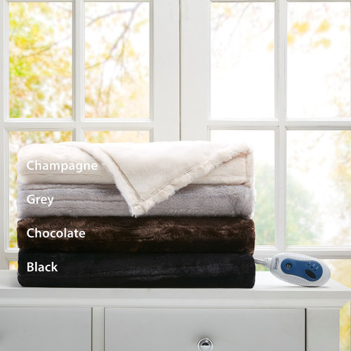 "Oversized Faux Fur Electric Heated Throw - 50"" x 70"" (Duke-Heated-Throw)"