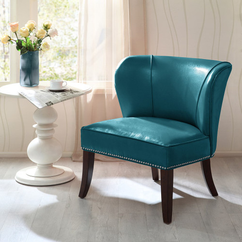 Peacock Blue Hilton Faux Leather Armless Accent Chair w/Wood Legs (Hilton-Blue-Chair)
