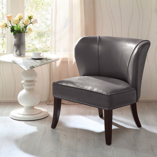 Grey Hilton Faux Leather Armless Accent Chair w/Wood Legs (Hilton-Grey-Chair)