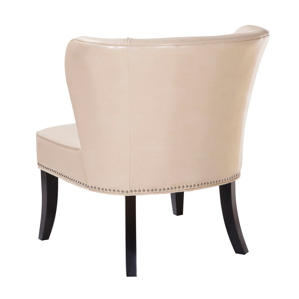 Ivory Hilton Faux Leather Armless Accent Chair w/Wood Legs (Hilton-Ivory-Chair)
