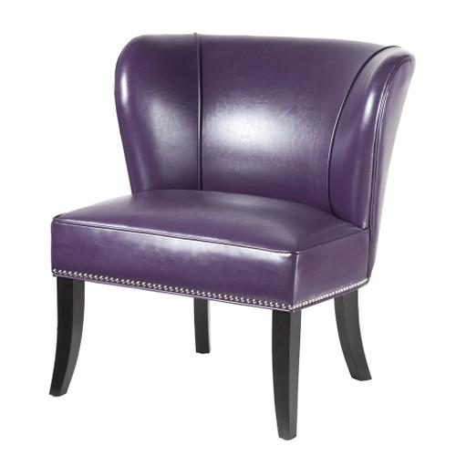 Purple Hilton Faux Leather Armless Accent Chair w/Wood Legs (Hilton-Purple-Chair)