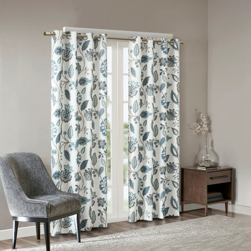 Blue Grey & Taupe Floral Room Darkening Grommet Top Curtain Panel (Camille-Aqua-Panel)