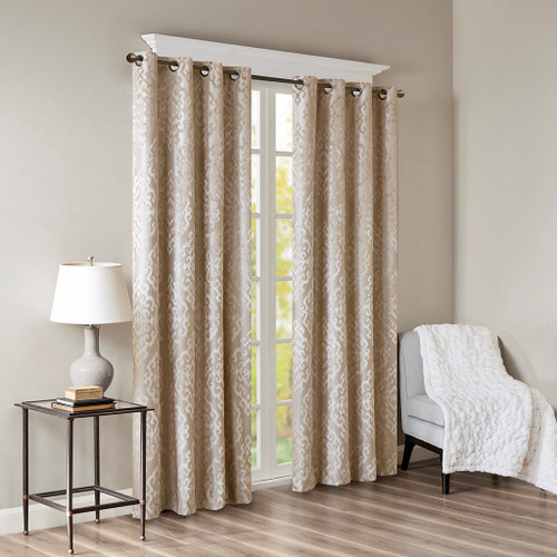 Champagne Knitted Jacquard BLACKOUT Grommet Top Curtain Panel (Mirage-Champagne-Panel)