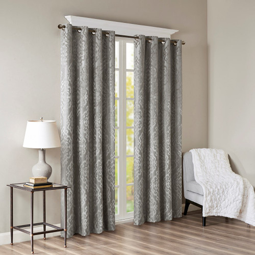 Charcoal Grey Knitted Jacquard BLACKOUT Grommet Top Curtain Panel (Mirage-Charcoal-Panel)