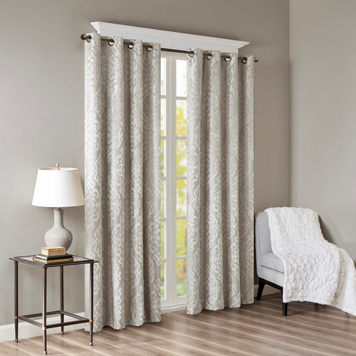 Soft Grey Knitted Jacquard BLACKOUT Grommet Top Curtain Panel (Mirage-Grey-Panel)
