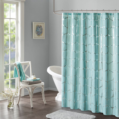 "Aqua Blue Geometric Metallic Fabric Shower Curtain - 72"" x 72"" (Raina-Aqua-Shower)"