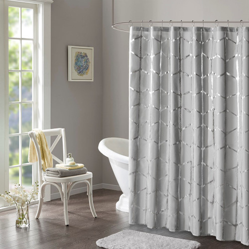 "Grey Geometric Metallic Fabric Shower Curtain - 72"" x 72"" (Raina-Grey-Shower)"