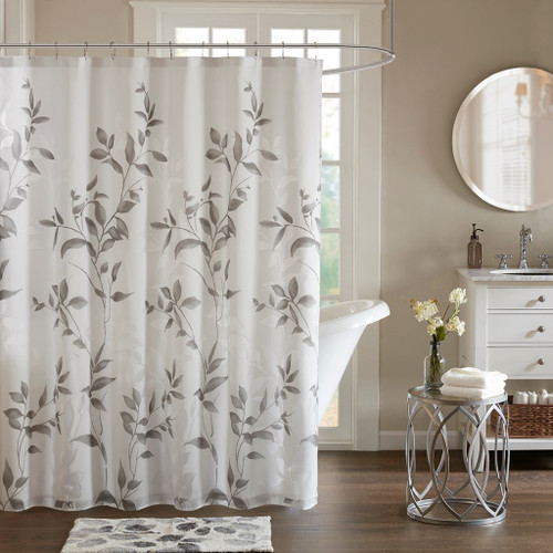 "Grey Floral Botanical Printed Fabric Shower Curtain - 72"" x 72"" (Cecily-Grey-Shower)"