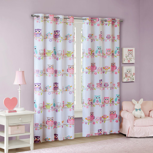 Pink & White Flowers & Owls BLACKOUT Grommet Top Curtain Panel (Wise Wendy-Pink-Panel)