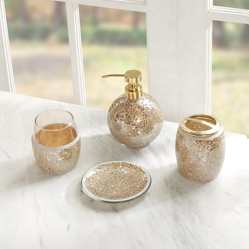 4pc Gold Mosaic Crackle Glass Bathroom Accessory Set (Mosaic-Gold)