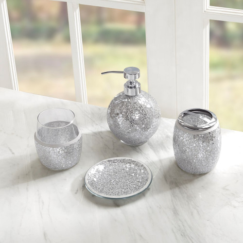 Silver Mosaic Crackle Glass Bathroom Accessory Set (Mosaic-Silver)