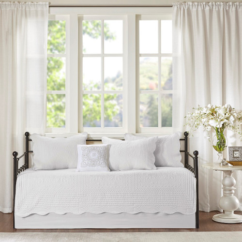 6pc White Scalloped Edges Quilted Daybed Set AND Decorative Pillow (Tuscany-White-DB)