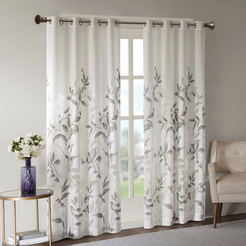 Grey & White Floral Botanical Grommet Top Curtain Panel (Cecily-Grey-Panel)