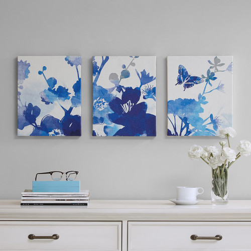 "3pc Textured Cobalt Blue Garden Canvas Wall Art - 11x14"" Each (Cobalt -Blue-Art )"