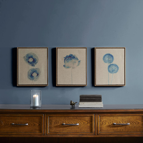 Blue Print Blue Botanicals Framed 3 Piece Printed Canvas On Linen (Blue Print -Blue-Art)