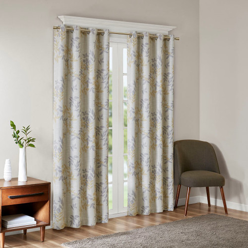 Yellow & Grey Botanical Floral BLACKOUT Grommet Top Curtain Panel (Julie-Yellow-Panel)