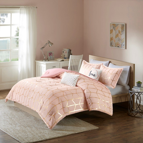 Pink Blush & Metallic Gold Geometric Comforter Set AND Decorative Pillows (Raina-Blush)