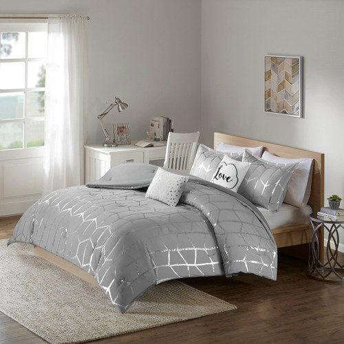 Grey & Metallic Silver Geometric Comforter Set AND Decorative Pillows (Raina-Grey/Silver)