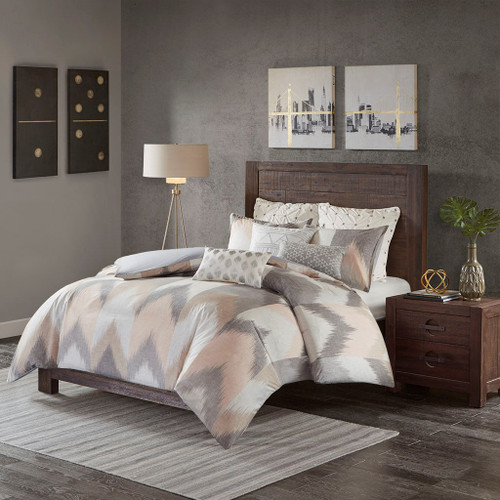 3pc Blush Pink & Grey Chevron 200TC Cotton Comforter AND Decorative Shams (Alpine-Blush)