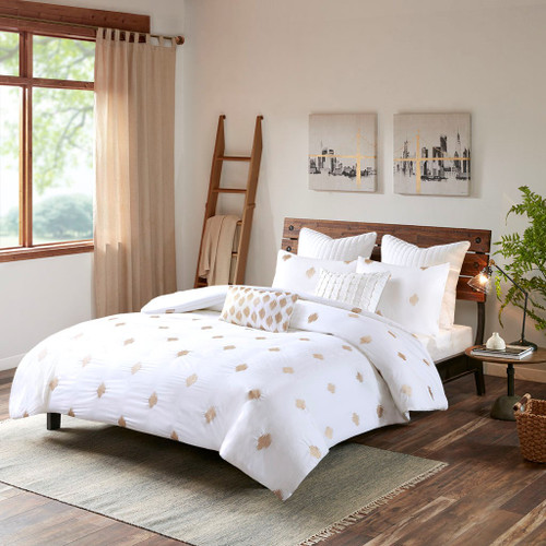 3pc Copper & White Cotton Percale Comforter AND Decorative Shams (Stella-Copper)