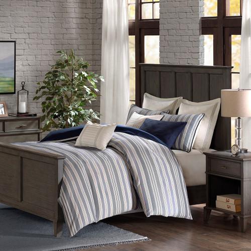 Blue & Ivory Striped Jacquard Woven Comforter Set AND Decorative Pillows (Farmhouse-Blue)