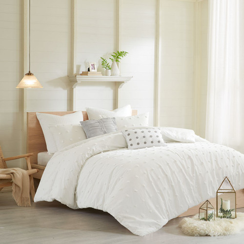 7pc Ivory & Grey Cotton Tufts Duvet Cover Set AND Decorative Pillows (Brooklyn-Ivory-duv)