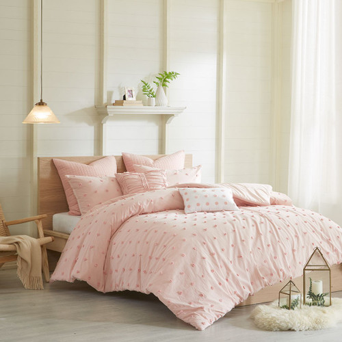 7pc Pink Cotton Tufts Duvet Cover Set AND Decorative Pillows (Brooklyn-Pink-duv)