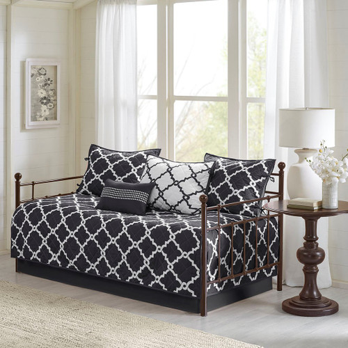 6pc Black & White Reversible Quilted Daybed Set AND Decorative Pillow (Merritt-Black-DB)