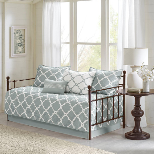6pc Grey & White Reversible Quilted Daybed Set AND Decorative Pillow (Merritt-Grey-DB)