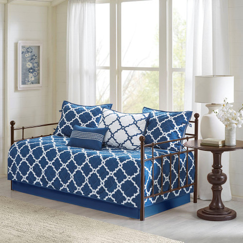 6pc Navy Blue & White Reversible Quilted Daybed Set AND Decorative Pillow (Merritt-Navy-DB)