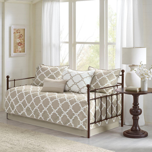 6pc Taupe & White Reversible Quilted Daybed Set AND Decorative Pillow (Merritt-Taupe-DB)
