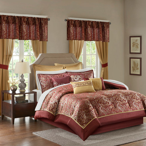 24pc Deep Red & Gold Paisley Comforter Set, Sheets, Pillows, Curtains AND More (Brystol-Red)