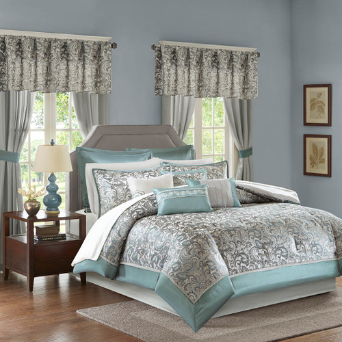 24pc Teal Blue & Grey Paisley Comforter Set, Sheets, Pillows, Curtains AND More (Brystol-Teal)