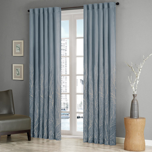 Blue Faux Silk Embroidered Lined Rod Pocket Curtain Panel (Andora-Blue-Panel)