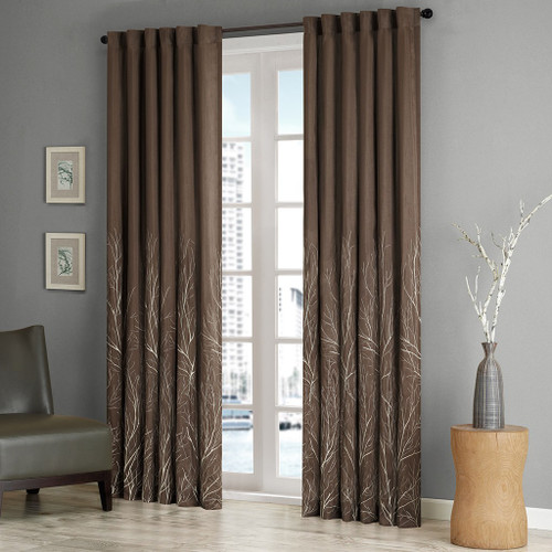 Brown Faux Silk Embroidered Lined Rod Pocket Curtain Panel (Andora-Chocolate-Panel)