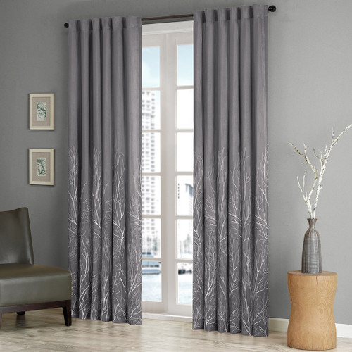 Grey Faux Silk Embroidered Lined Rod Pocket Curtain Panel (Andora-Grey-Panel)