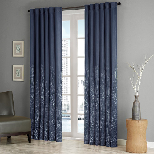 Navy Blue Faux Silk Embroidered Lined Rod Pocket Curtain Panel (Andora-Navy-Panel)