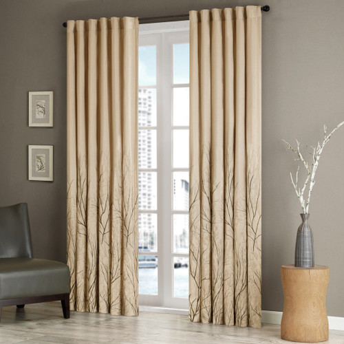 Tan Faux Silk Embroidered Lined Rod Pocket Curtain Panel (Andora-Tan-Panel)