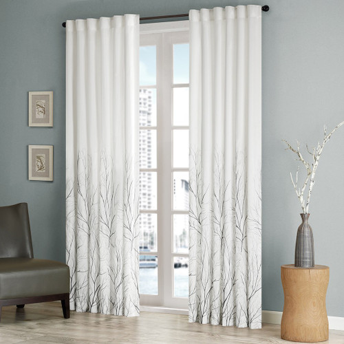 White Faux Silk Embroidered Lined Rod Pocket Curtain Panel (Andora-White-Panel)