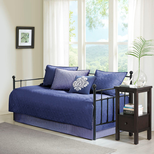 6pc Navy Blue Quilted Daybed Set AND Decorative Pillow (Quebec-Navy-DB)