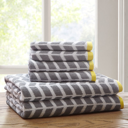 6pc Grey White & Yellow Chevron Cotton Jacquard Bath Towel Set (Nadia-Grey