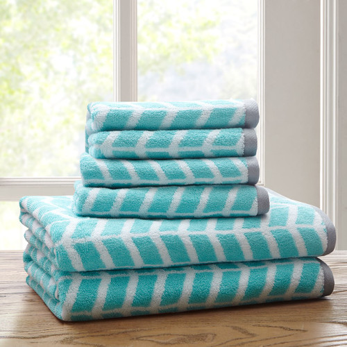 Teal Blue White & Grey Chevron Cotton Jacquard Bath Towel Set (Nadia-Teal-Towels)